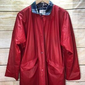 Talbots Red Trench Rain Coat Plaid Trim